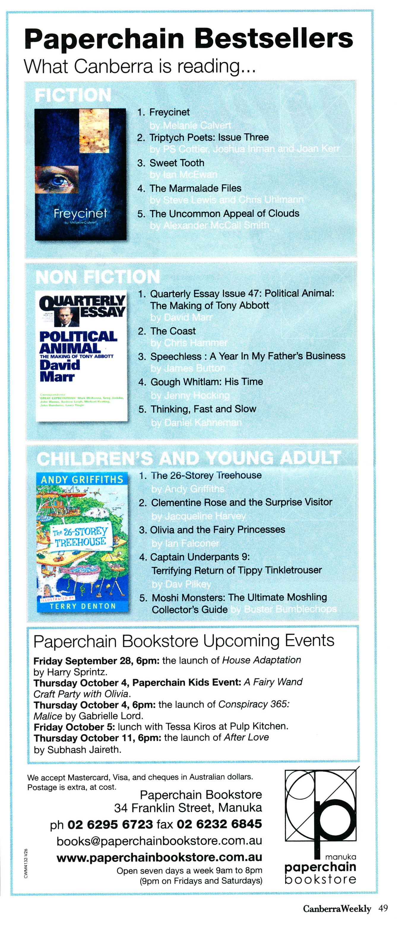 Paperchain Bestsellers list