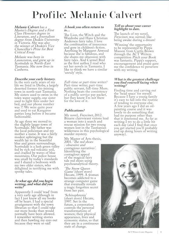Profile article in ACTWrite